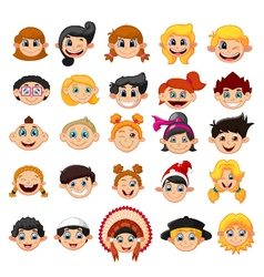 Collection face kid vector image vector image