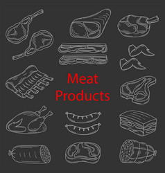 meat products sketch vector image vector image