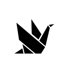origami icon black sign on vector image