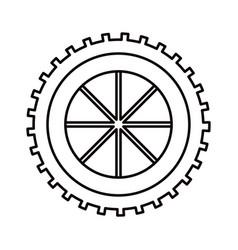 sketch silhouette gear wheel component icon vector image vector image