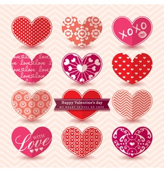 Valentines day Heart symbol Elements pattern vector image vector image
