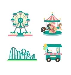 Amusement Park Color Sings Set vector image