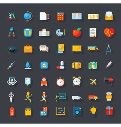 Big flat icons set vector image vector image