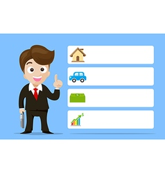Business man cartoon smile showing the finger with vector image vector image