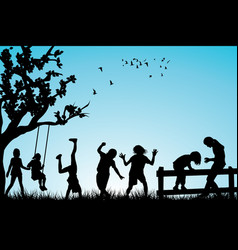 children playing outdoor vector image