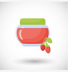 goji berry jam flat icon vector image vector image