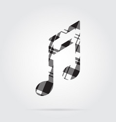 grayscale tartan isolated icon - musical note vector image