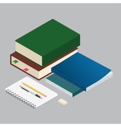 Isometric Books on the background of the school vector image