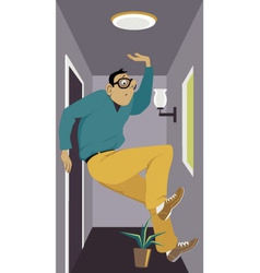 Man in a tiny apartment vector image vector image