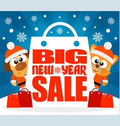 new year big sale background with funny animal vec vector image vector image