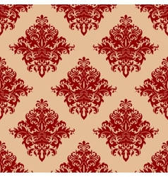 Ornate red vintage damask style seamless pattern vector image vector image