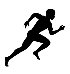 Runner Man Isolated Silhouette on White background vector image