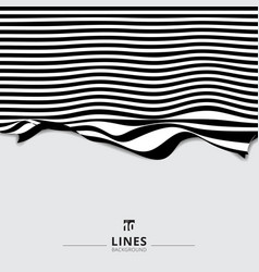 abstract striped black and white curved line vector image