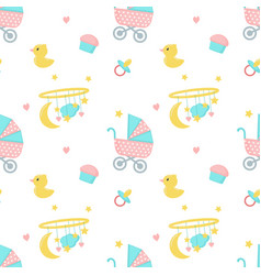 bashower seamless pattern with newborn vector image