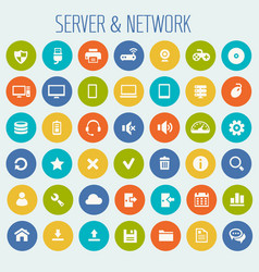 big computer networks icon set vector image