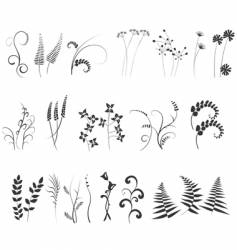 Black and white plants silhouettes set vector image