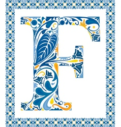 Blue letter F vector image