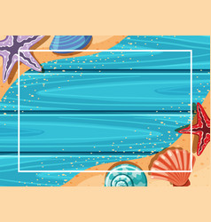 Border template with starfish and seashells on vector