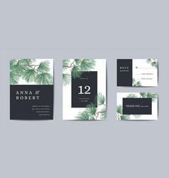 botanical wedding invitation card template design vector image