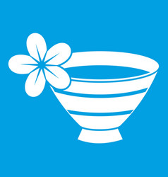 bowl with water for spa icon white vector image