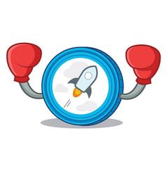 Boxing stellar coin character cartoon vector