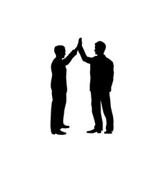 Business collaboration sign two men silhouette vector