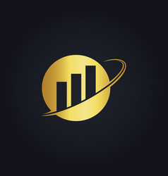 business finance round gold logo vector image