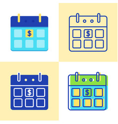 calendar with dollar sign icon set in flat and vector image