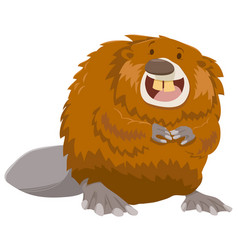 Cartoon beaver animal character vector