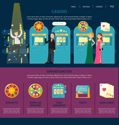 Casino web page template vector