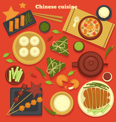 Chinese cuisine seafood and dumplings green tea vector