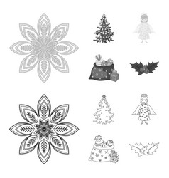 Christmas tree angel gifts and holly outline vector
