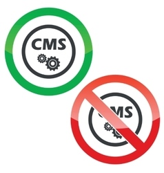 CMS settings permission signs vector image