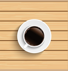 coffee cup on wooden table top view vector image