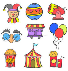 Collection cute doodle circus theme vector