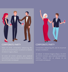 Corporate party poster text vector