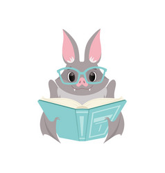 Cute bat in glasses reading a book gray funny vector