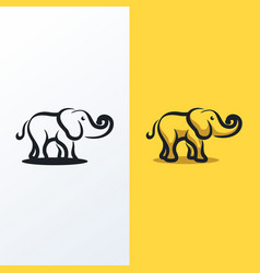 Cute elephant line art logo icon vector