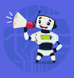 Cute robot holding megaphone digital marketing vector