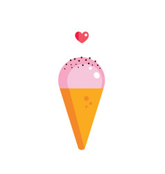 cute strawberry ice cream cone with chocolate vector image