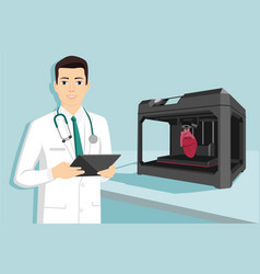 Doctor and 3d printer vector