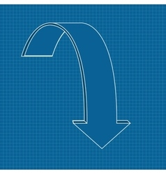 Down arrow Outline icon on blueprint background vector