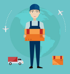 e-commerce delivery man shopping online all over vector image