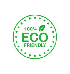 eco friendly 100 percent green circle badge vector image