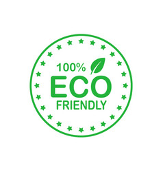 Eco friendly 100 percent green circle badge with vector
