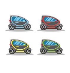 Electric car concept icon set flat vector