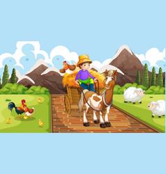 Farmer with farm animals scene vector