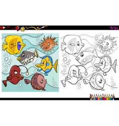 Fish characters coloring page vector