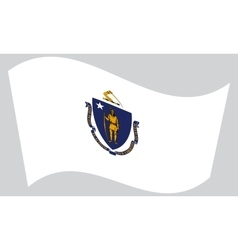 Flag of Massachusetts waving on gray background vector