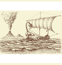 galley ship on sea hand drawing a volcano vector image